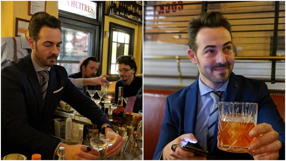 Left: Mario preparing Martini cocktails for his thirsty regulars, Right:Mario enjoying a Negroni variation by Cristian Silenzi