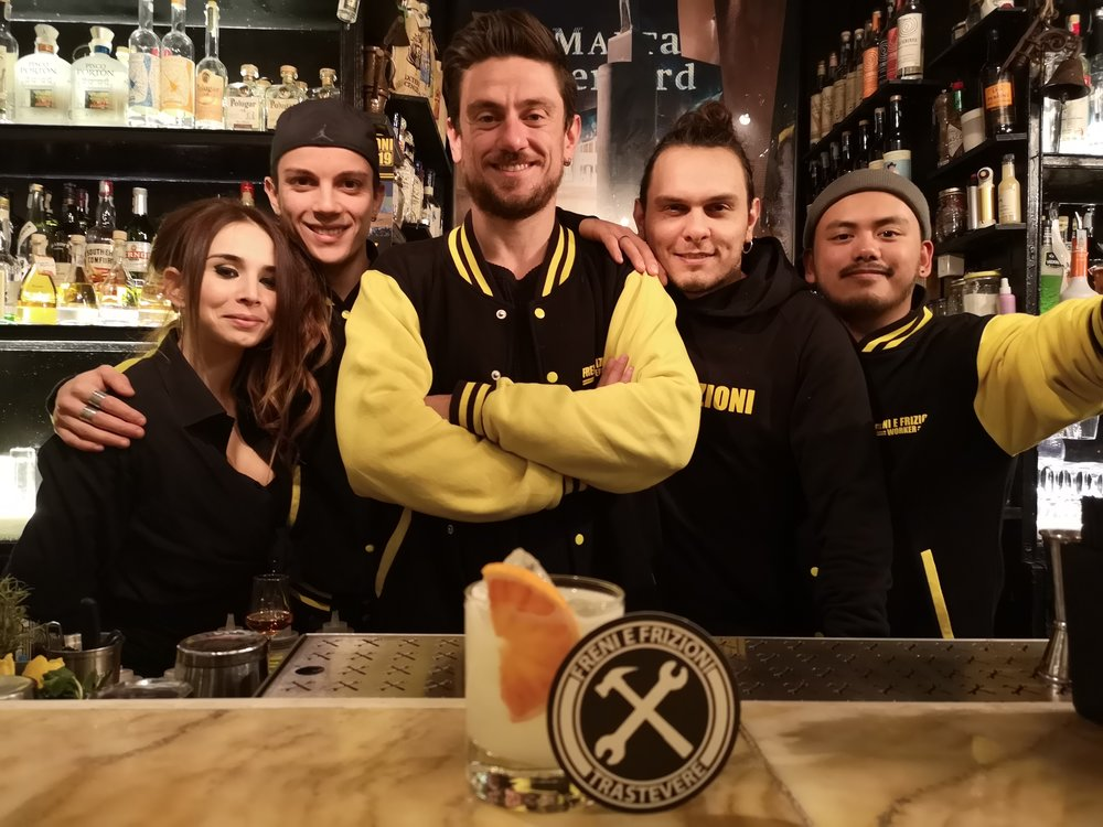 "Freni bar team Michela, Daniele, Riccardo, Simone and Chin with  Will Meridith 's Bacardi Legacy drink ""The Brick Layer"""