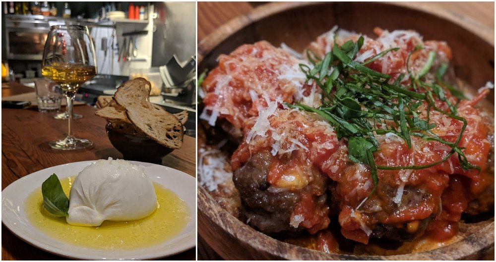 Burrata and meatballs