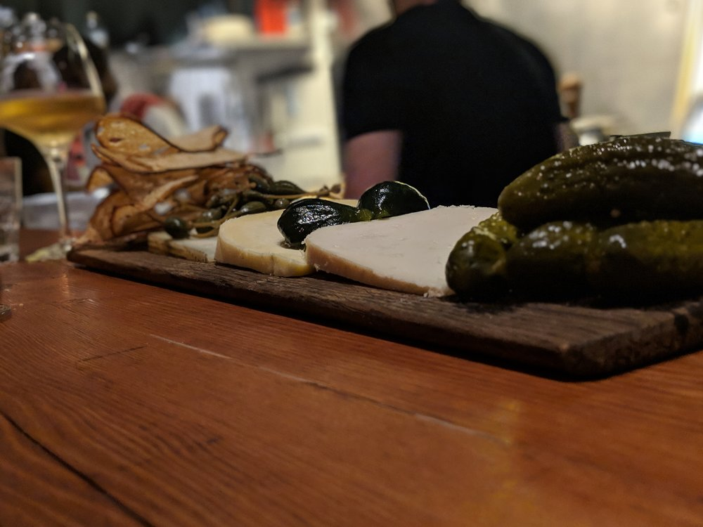 Cheese board with pickles