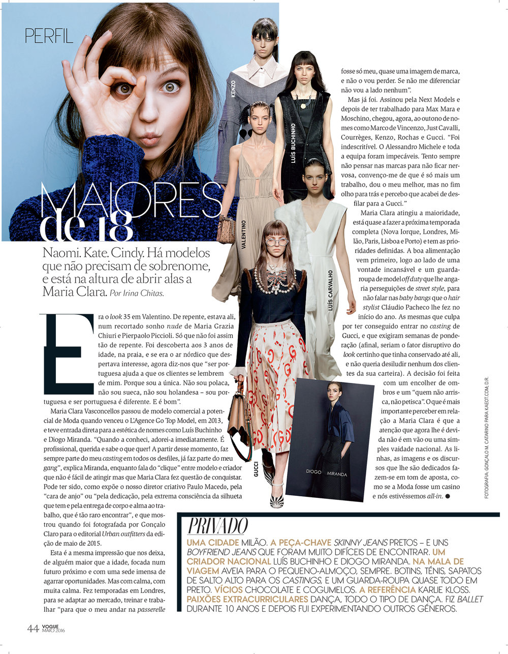 Maria Clara shot for KAEOT and featured in VOGUE Portugal