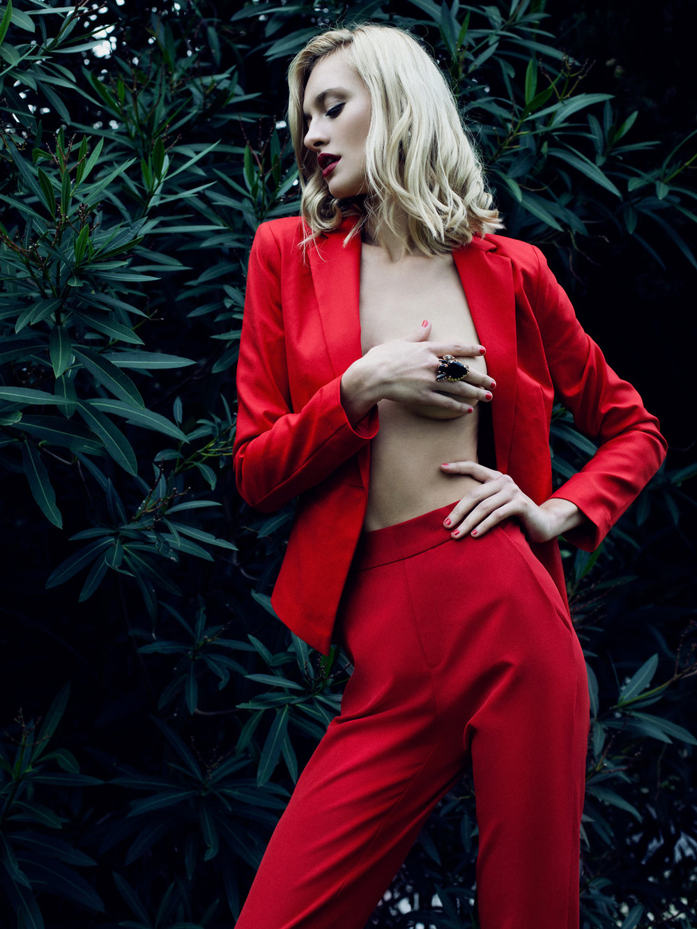 """Tainted Red"" editorial featuring Nadia Serlidou (L'Agence), styled by Rita Alves, make up and hair by Inês Marques."