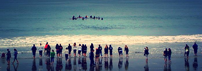 The paddle out honoring Seth Koller and his passion for life. The Jetty, Half Moon Bay, CA 2009