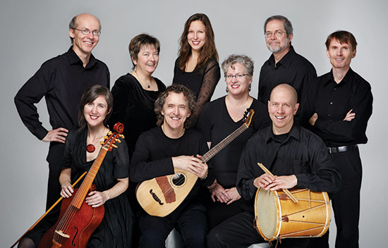The Toronto Consort: (top row) David Fallis, Alison Melville, Michelle DeBoer, John Pepper, Paul Jenkins,   (bottom row) Katherine Hill, Terry McKenna, Laura Pudwell, Ben Grossman.