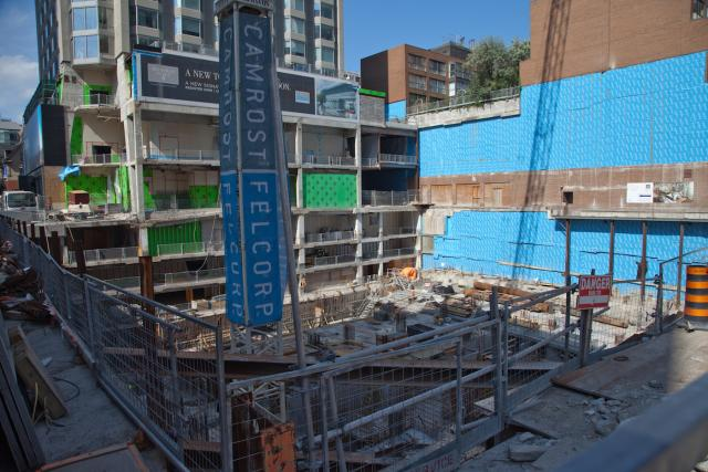 Below-grade construction at the site of Cumberland at Yorkville Plaza, as seen in July, image by Jack Landau