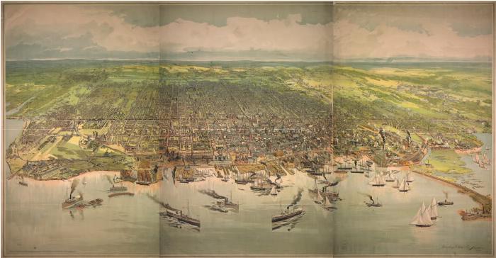 Bird's-eye view of Toronto, 1893.