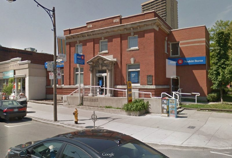 The Bank of Montreal Branch at 2444 Yonge Street, built in 1907.  Demolished in January 2017