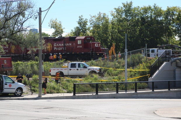 Trains are running again past the site of a train derailment in Toronto. The derailment at 5:20 a.m. ET Sunday damaged CP Rail tracks, but no one was injured. Officials said there were no public safety concerns. (Martin Trainor/CBC)