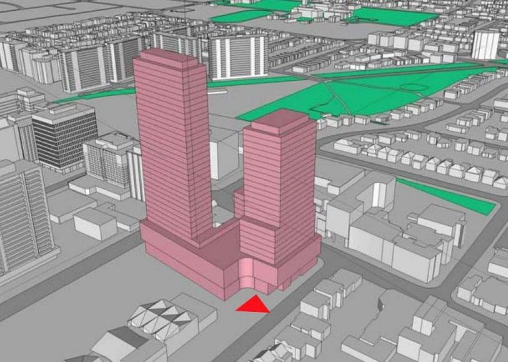 A rendering of the proposed two-tower condo development in Davisville that planning staff are asking be paused until an infrastructure review is complete.(CITY OF TORONTO)