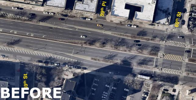 A look at how Queens Boulevard used to look before the Vision Zero-inspired redesign. There are no bike lanes and pedestrians found crossing the long distance treacherous.(New York Dept. of Transportation)
