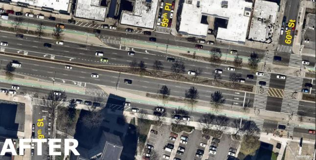 A look at Queens Boulevard after the redesign. Lanes were narrowed and bike lanes were installed. Medians and crosswalks were widened to give pedestrians more time and space to cross.(New York Department of Transportation)