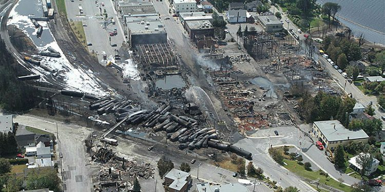 The Transportation Safety Board's aerial view of the derailment of rail cars carrying crude oil which exploded and killed 47 people in Lac-Mégantic, Que., on July 6, 2013, Canada's worst train disaster since Confederation.  Photograph courtesy of Transportation Safety Board
