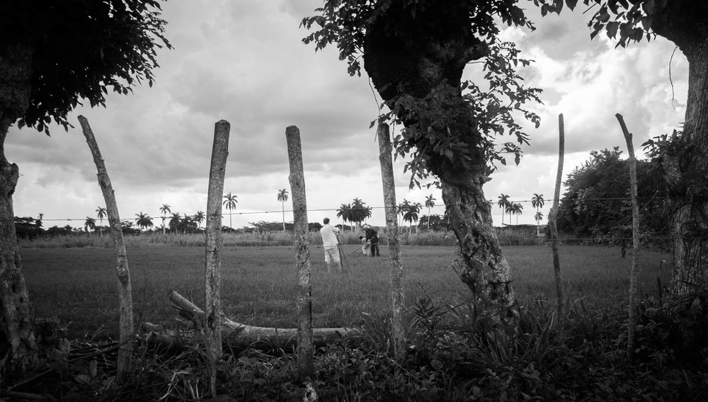 Interviewing a rice farmer, Sancti Spiritus, Cuba, 2013