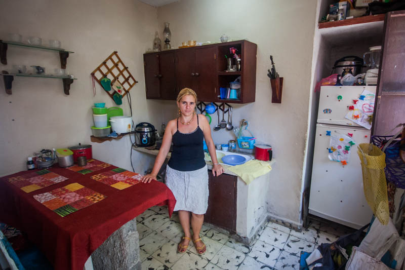 Yahíma García Sarduy in her kitchen in Cabaiguán, Cuba, July 2013.