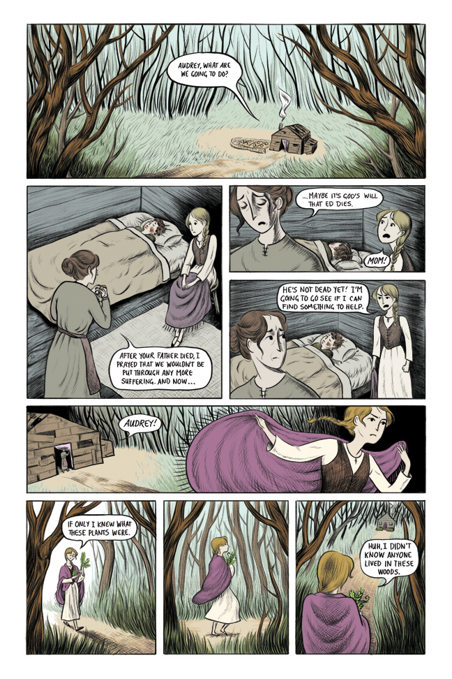 "Page 1 of a three-page short comic, ""Audrey and the Cunning Woman,"" 2014"