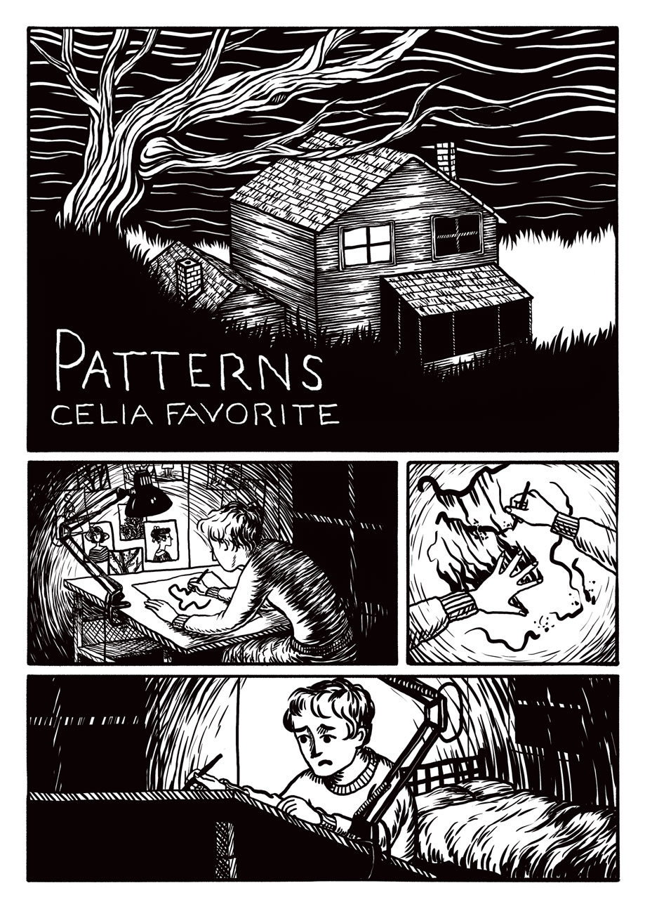 "Page 1 of a six-page comic, ""Patterns,"" for  Sweaty Palms Vol. 1 , 2016"