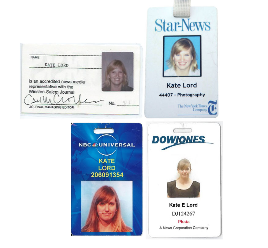 Staff IDs from The Winston-Salem Journal, The Wilmington Star-News, NBC Universal, and The Wall Street Journal