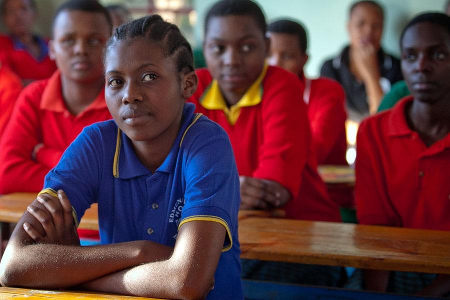 Charity in class in Arusha, Tanzania.