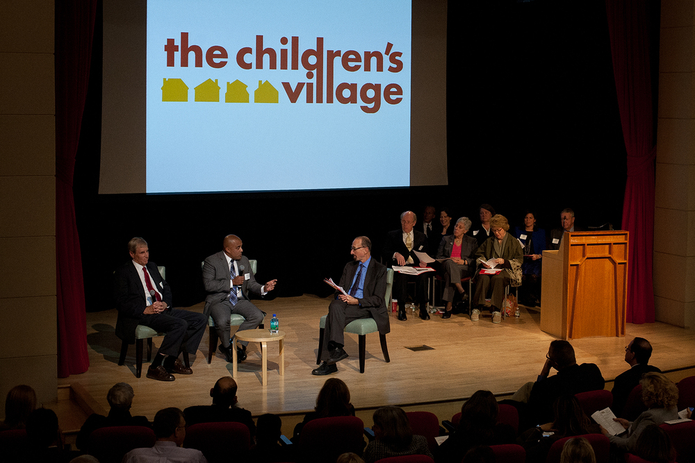 Paul H. Jenkel, chairman of the board of trustees of The Children's Village, Dr. Jeremy C. Kohomban, president & CEO of The Children's Village, and moderator Brian Lehrer, host of The Brian Lehrer Show on WNYC.