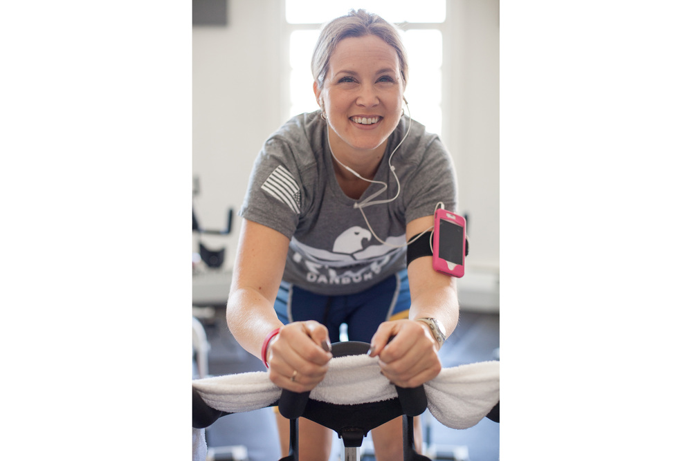 Amy trains on the bike. During each of her workouts, she trains for two of the three portions of the triathlon. In actual competition, she'll complete a 750m swim, a20k bike race, and a 5k run.