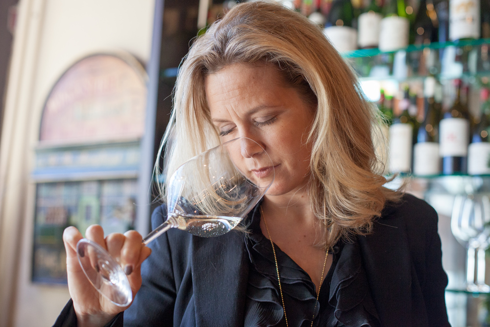 "Amy tests wines at Nicholas Roberts Fine Wines in Darien, Connecticut, where she works regularly. When a sommelier smells a wine, she's looking for flaws, said Dixon. ""You're looking for what makes the wine tick,"" she said."