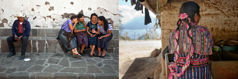 Left: Eighth grade girls chat in the town plaza in Santiago Atitlan. Girls in this community are often shy and quiet as a result of their upbringing, but the girls in Starfish One by One's mentorship and scholarship program are learning self-confidence and freedom of expression. // Right: A mother, wearing the traditional hairstyle of a middle-aged, married woman, washes dishes at her home in Solola.