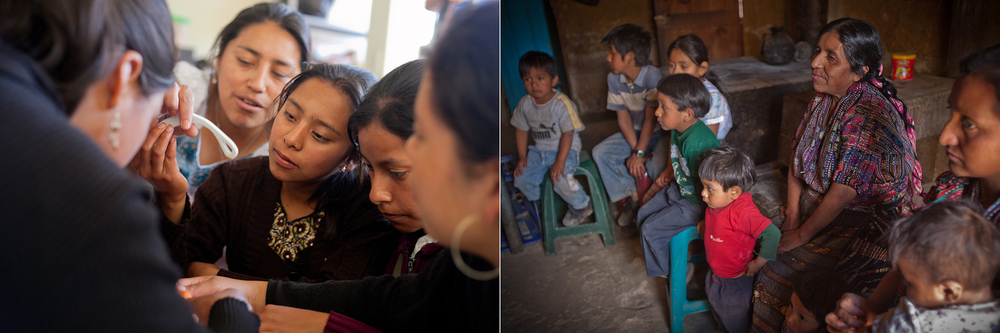 Left: High school students learn about reproductive health during a mentoring session during a mentoring session with Starfish One by One in Panajachel. // Right: Josefa, a mother of 12, sits among her children and grandchildren at her home in Solola during a visit from a Starfish One by One mentor.