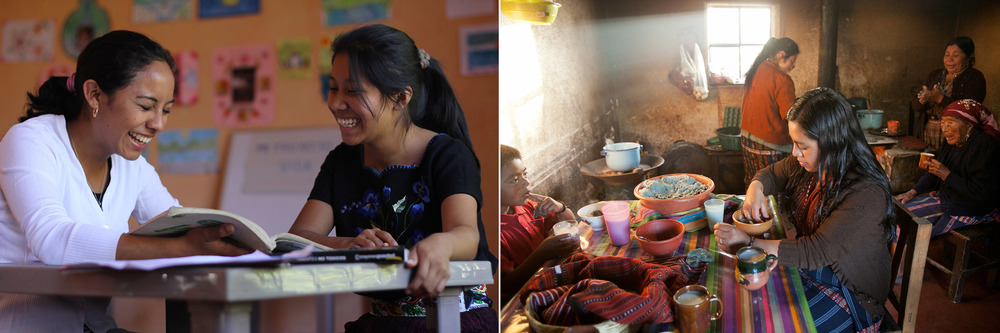 Left: Starfish mentor Wendy tudors high school senior Francisca. // Right: Four generations of indigenous Mayan women share breakfast together.