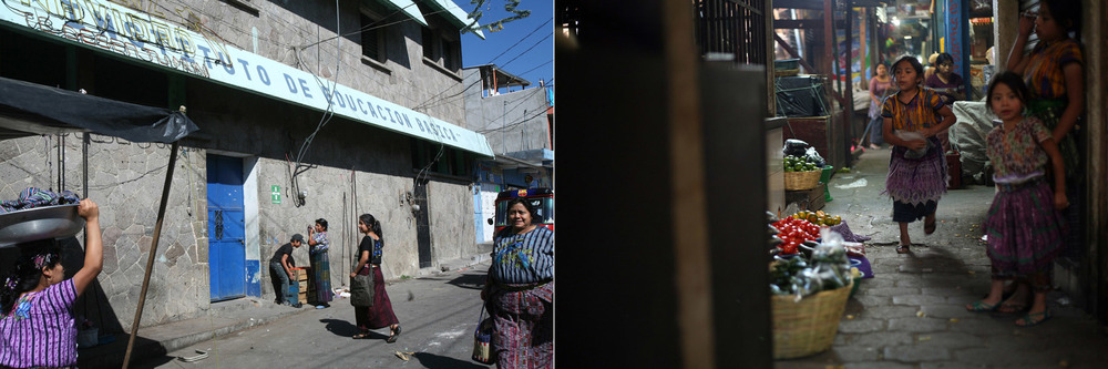 Left: Francisca, a high school senior, walks to school amid working women. // Right: Young girls work in the local market.