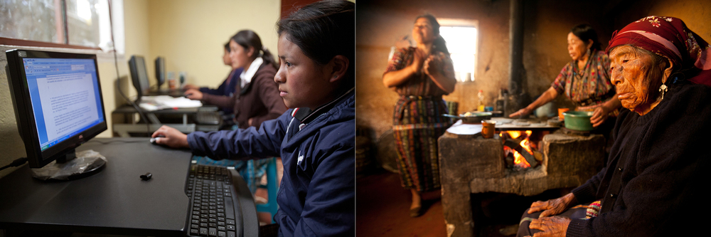 Left: A teen works on the computer in the Starfish One by One office in Solola, Guatemala. // Right: Three generations of indigenous Mayan women make breakfast in their home in Solola, Guatemala. Women in this community work primarily in the home cooking, cleaning and rearing children.