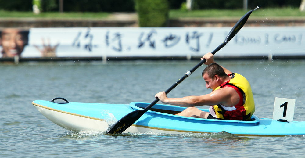Karol Bogdanowicz, 19, represents Poland in the 500 meter divistion three preliminary round of kayaking at Shanghai Aquatic Sports Center. This is the first year that kayaking is an official sport in the Special Olympic World Games.