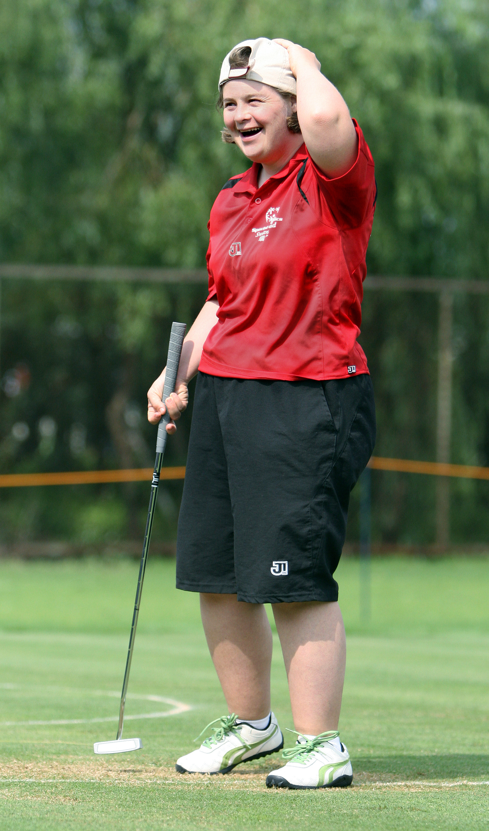 Marie-Claire Courtin of Switzerland celebrates after a good putt during the level 1 competition at Shanghai Tianma Country Golf Course.