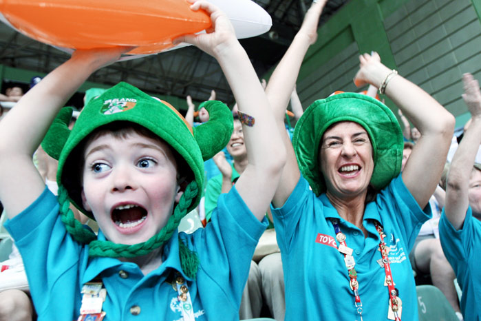 Luke O'Brien, 6, and his mother Carolina celebrate a basket made by the Irish women's 5-a-side basketball team during their match against Egypt during the 2007 Special Olympic World Summer Games in Shanghai, China.  Caroline's daughter, Aisling, is a member of the Irish squad.