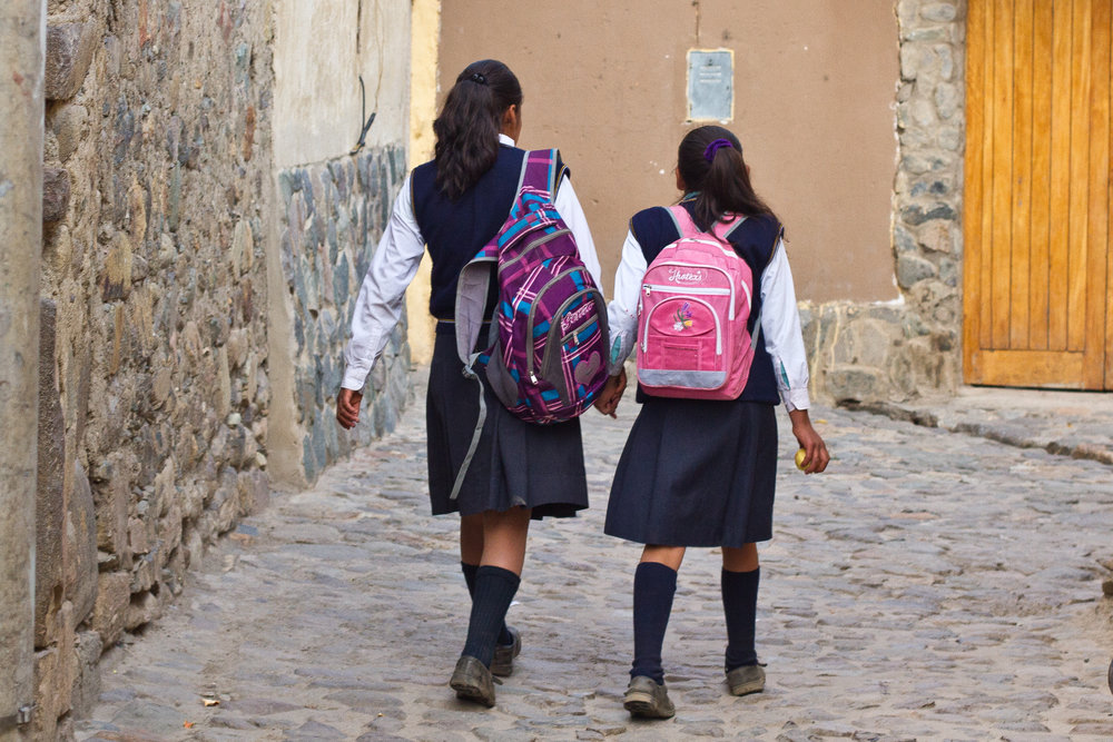 She's the First Scholars walk to school in Peru.