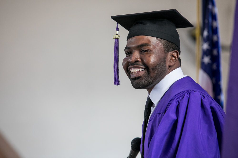 """Today I'm glad to say I've got a new set of eyes. After 28 years on this earth, I finally know the point of education and I'm addicted to it,"" Vincent Thompson said in his graduation speech."