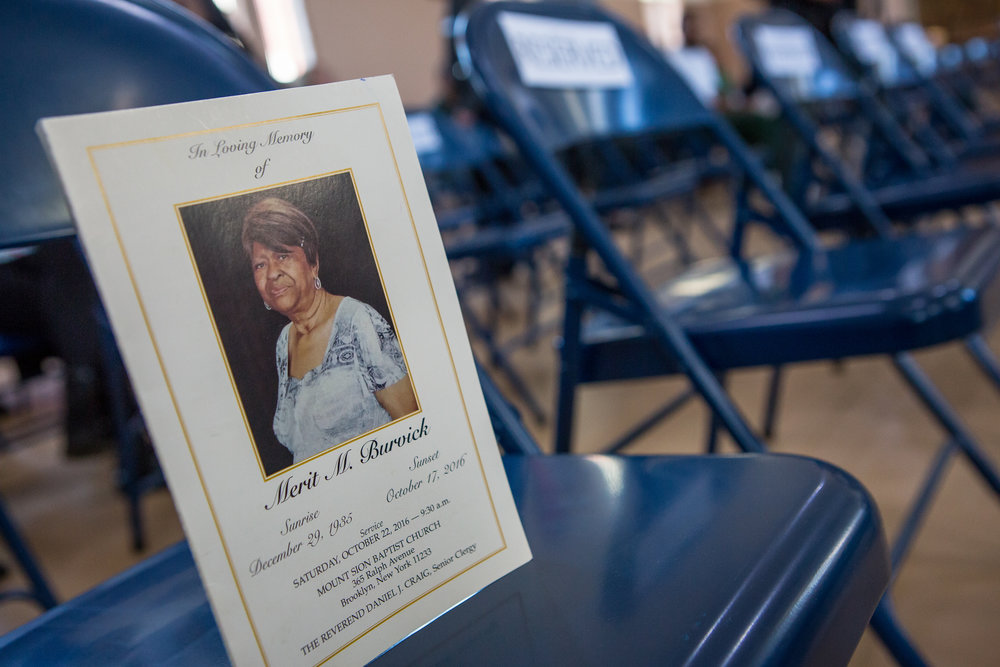 Roy placed the program from his mother's funeral on a seat at his graduation.