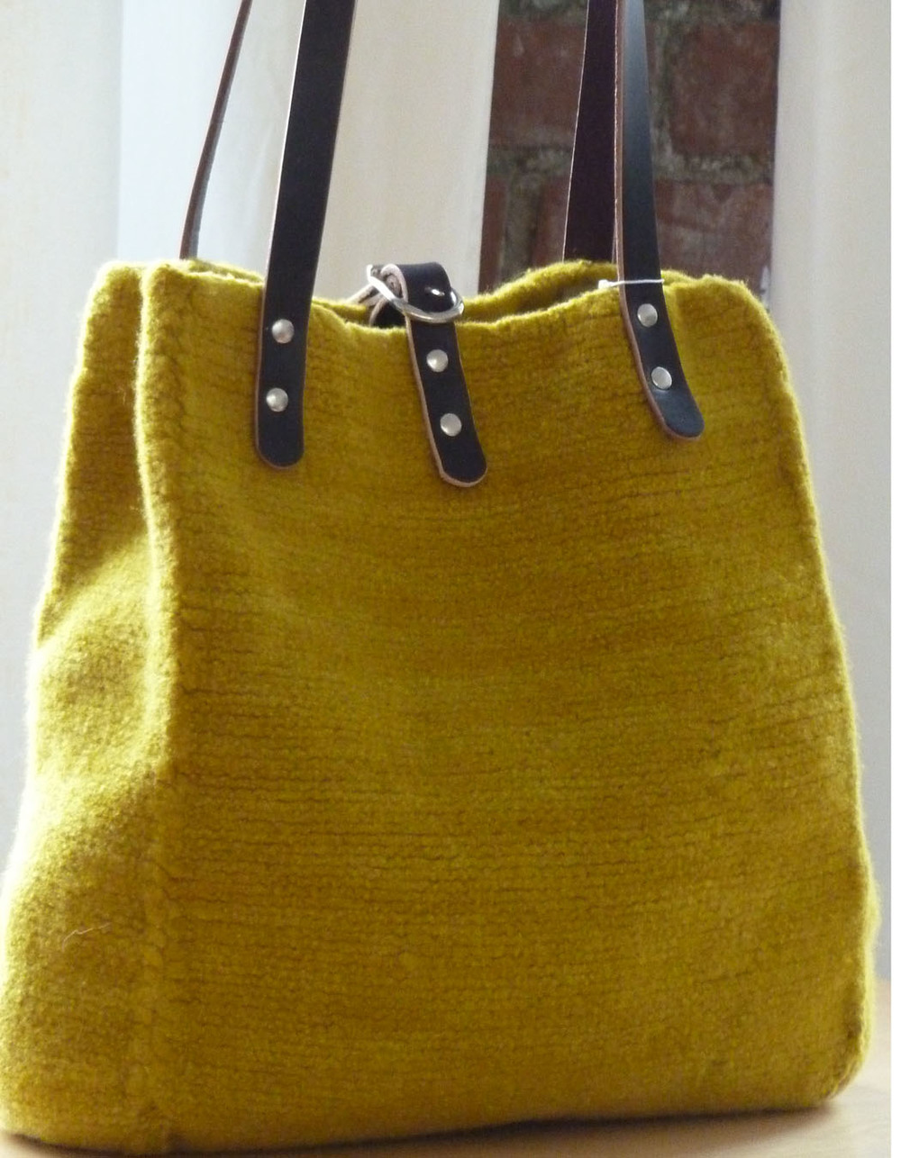 "Tiverton Tote shown in ""Ochre"" with Eggplant leather."