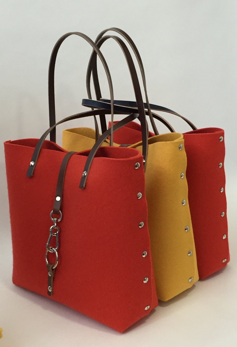 Cookie Totes in Saffron and Poppy Dark Brown Straps