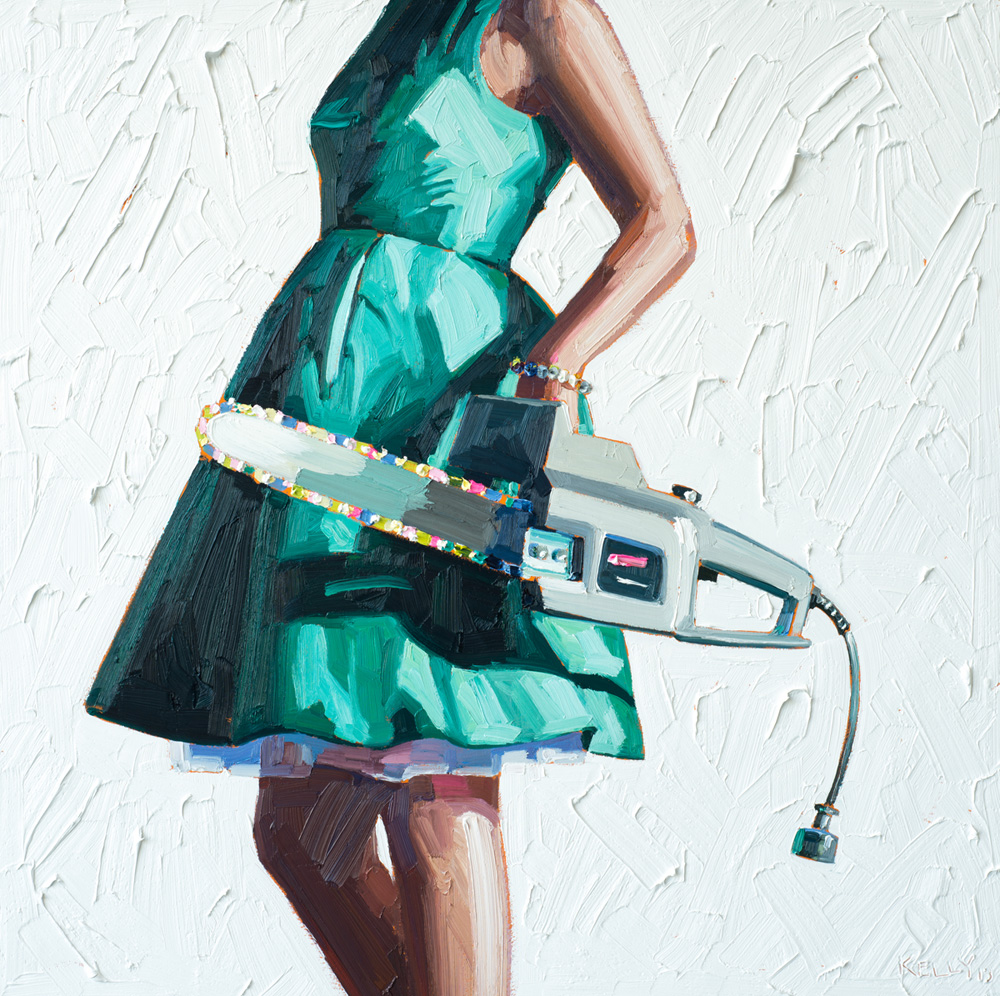 Kelly Reemtsen / On a Short Leash, 2013 / oil on panel / 36 x 36 inches