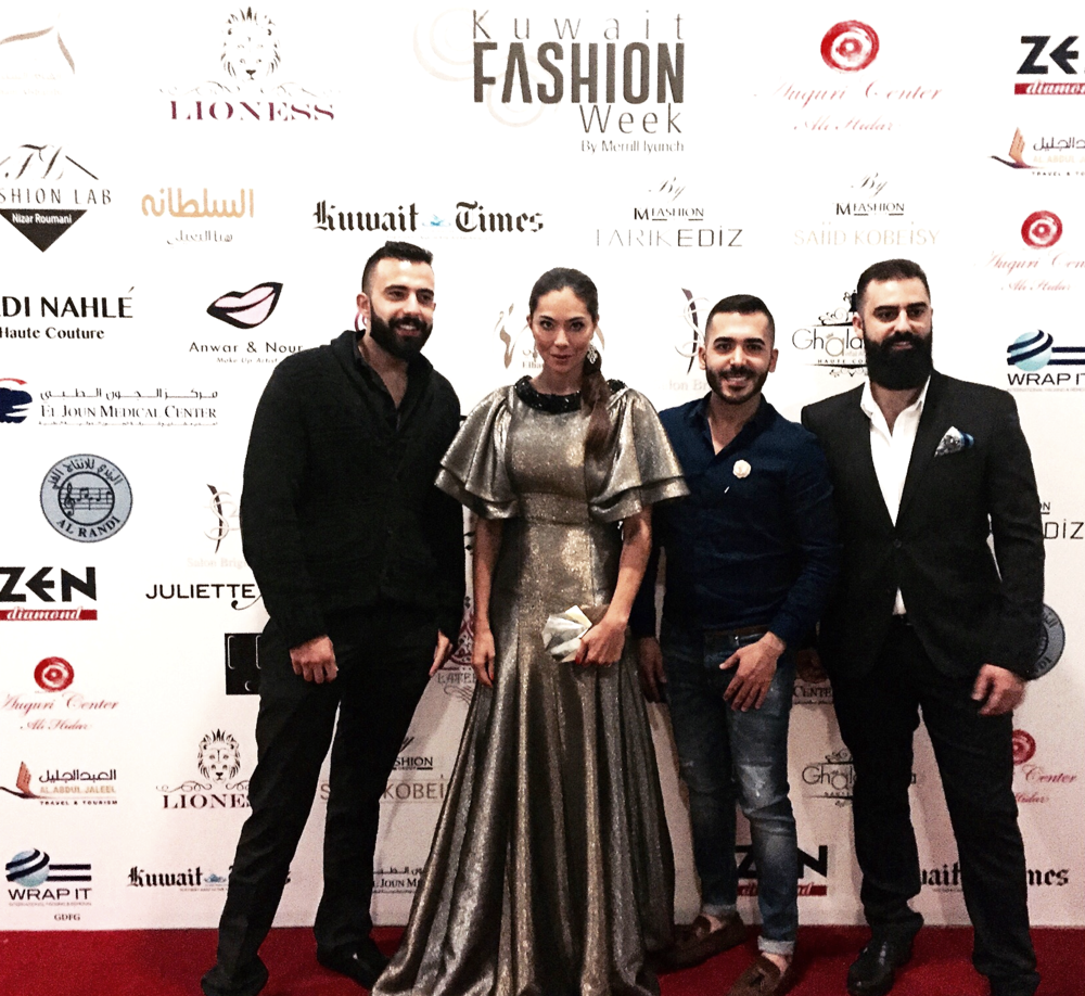 Image by Anna Maria Sandegren. From Left: Patrik Basil, Anna Maria Sandegren (in Lioness Couture),  Fadi Seklawi, and Elie Abou