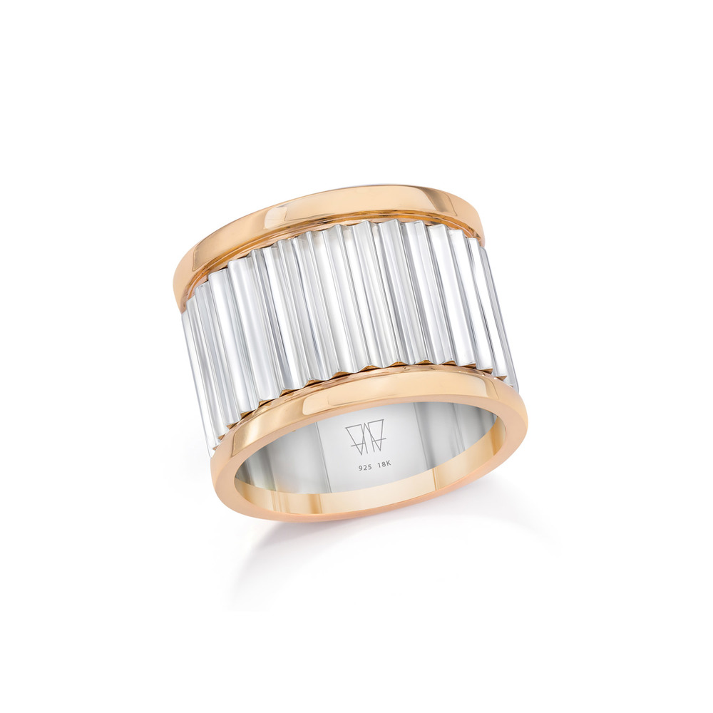 CLIVE - Sterling Silver and 18K Rose Gold Fluted Band Ring