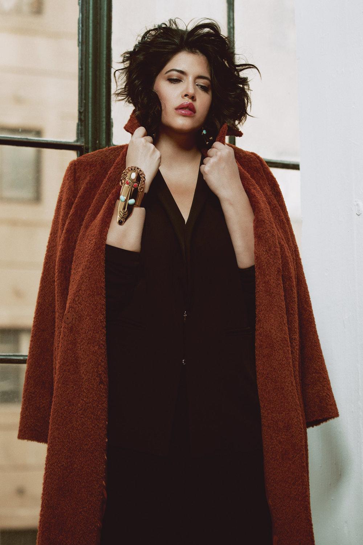Marina Rinaldi: Coat  Tamarzizt Jewelry:Afrodisiaque Cuff + Earring