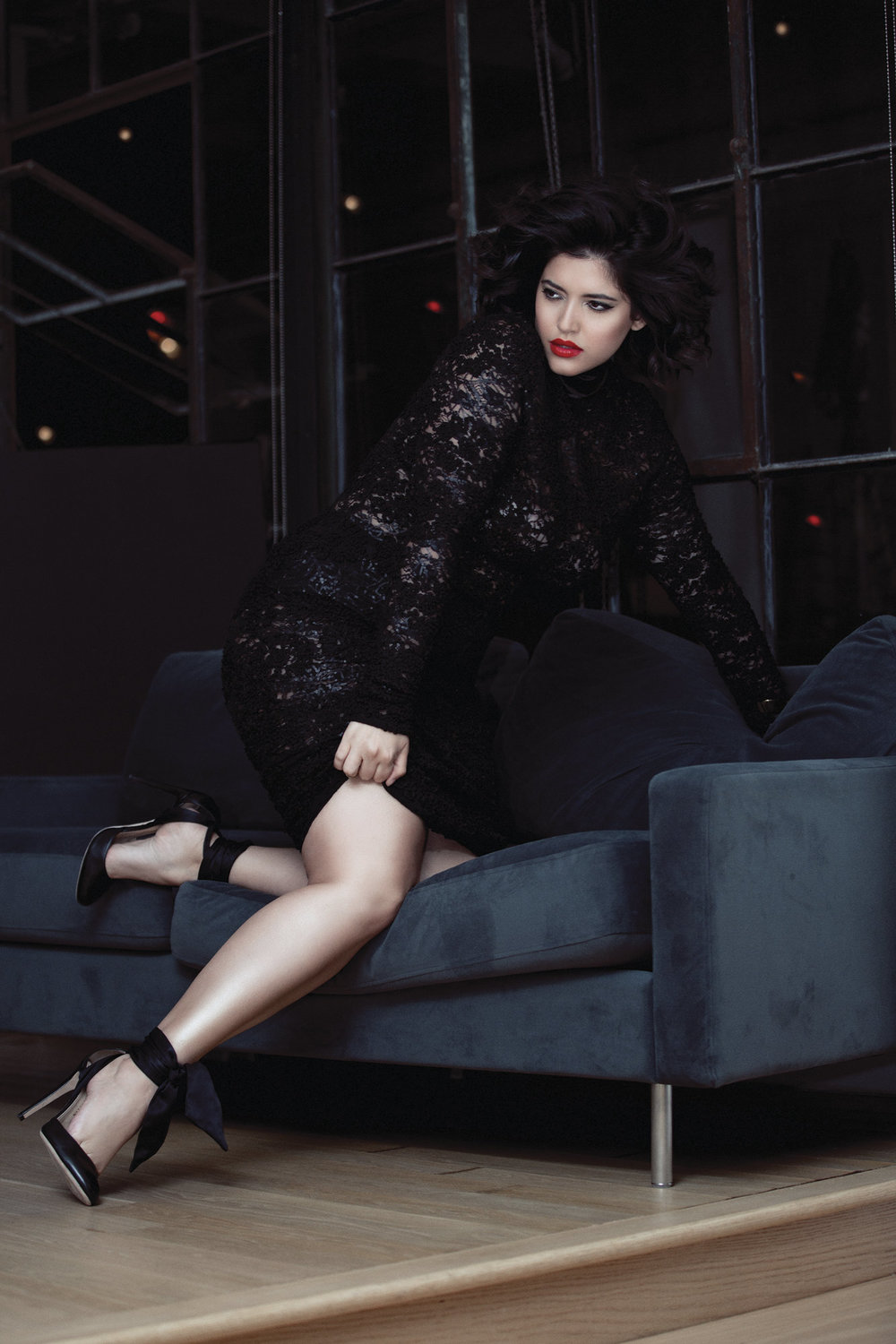 Jon Marc by K Secret: Black Lace Dress  Chloe Gosselin: Black Tie Pumps