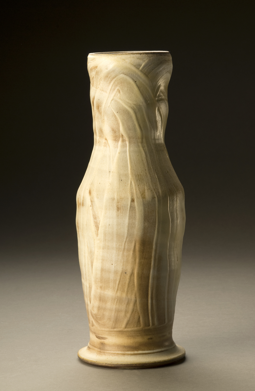 Woodfired Vase, Porcelain Slip and Natural Ash