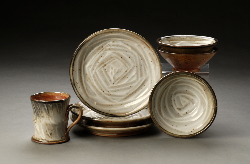 Dinnerware Place Setting with Porcelain Slip and Shino Glaze