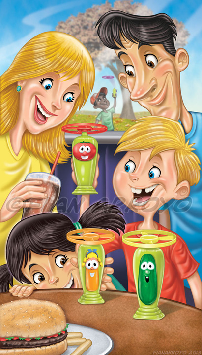 Family eating at restaurant humorous illustration.
