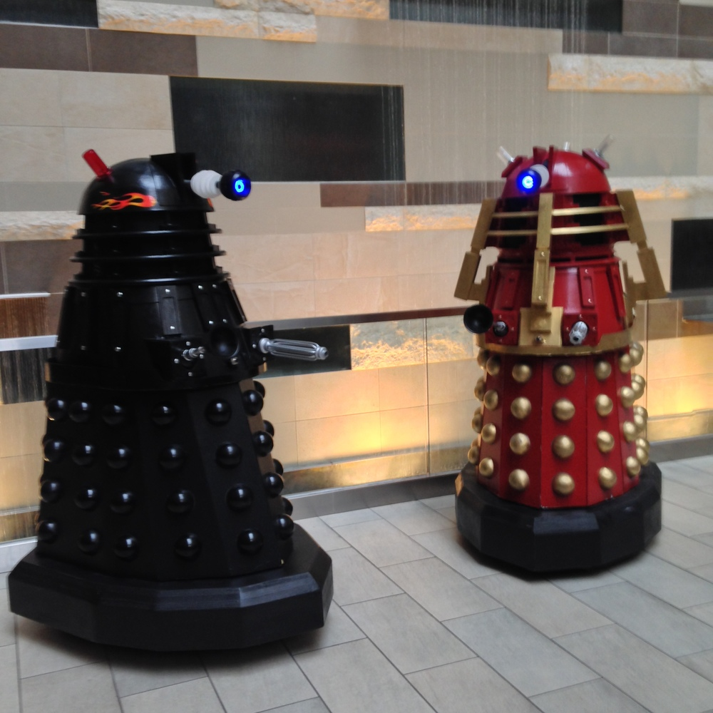 Dr. Who robots in my hotel lobby.