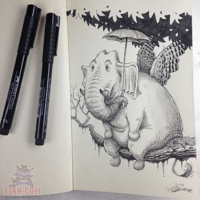 Sunday Night Flying Elephant Doodle