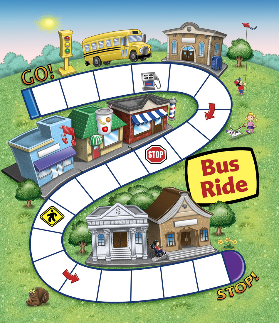 Bus Ride Educational Game board