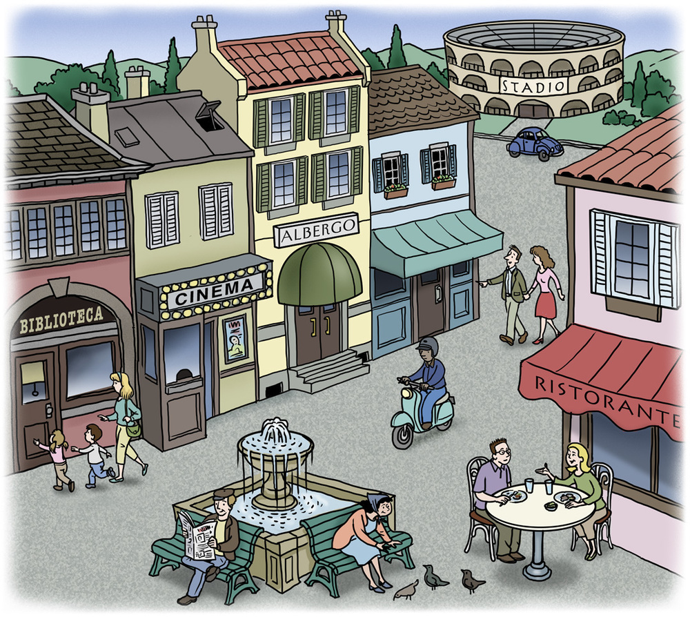European Village Educational Textbook Illustration